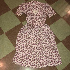 Vintage floral midi dress xs sm purple